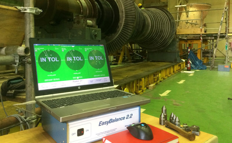 Large steam turbine with EasyBalance instrumentation and software